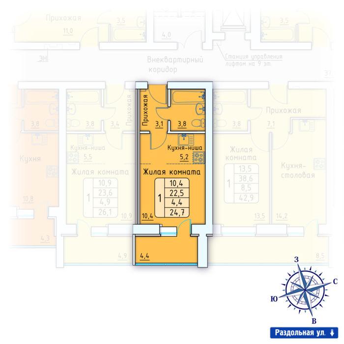 Планировка квартиры (помещения) 32                                                         , Позиция 3.