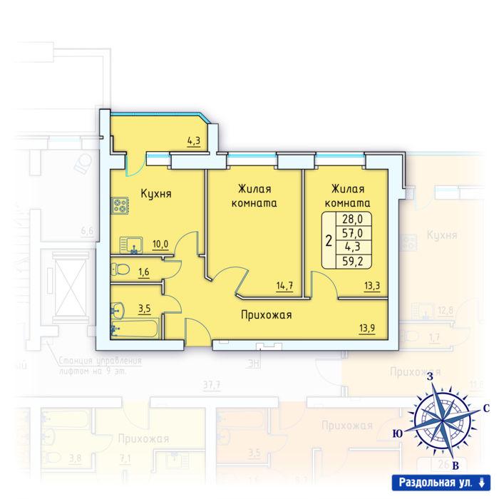 Планировка квартиры (помещения) 19                                                         , Позиция 3.