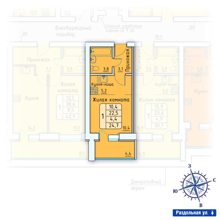 Планировка квартиры (помещения) 177                                                         , Позиция 3.
