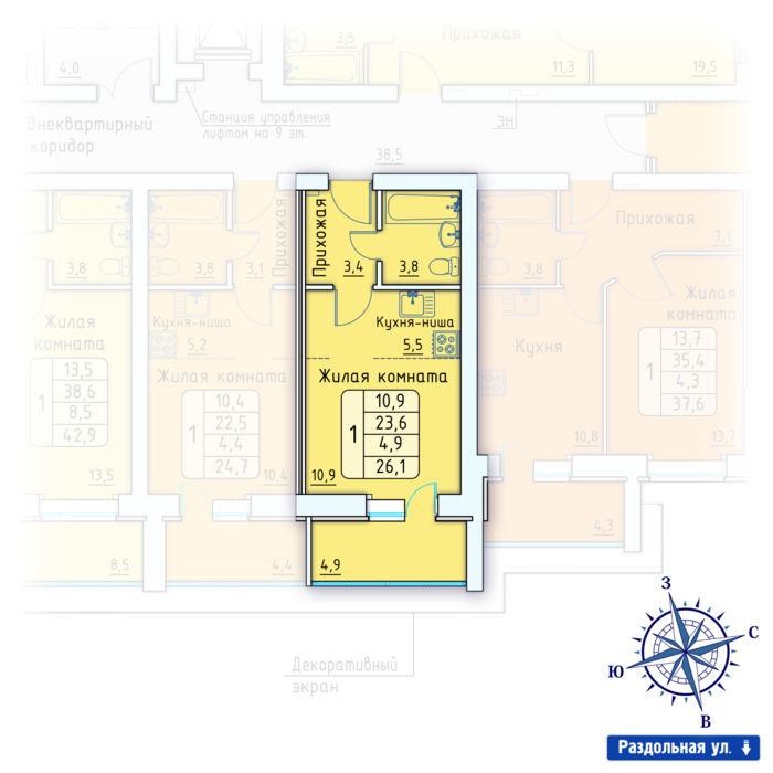 Планировка квартиры (помещения) 176                                                         , Позиция 3.