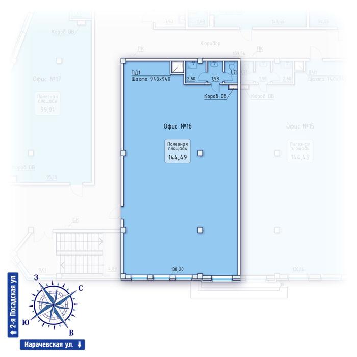 Планировка квартиры (помещения) 16                                                         , ЖК «Зенит» Коммерческие помещения