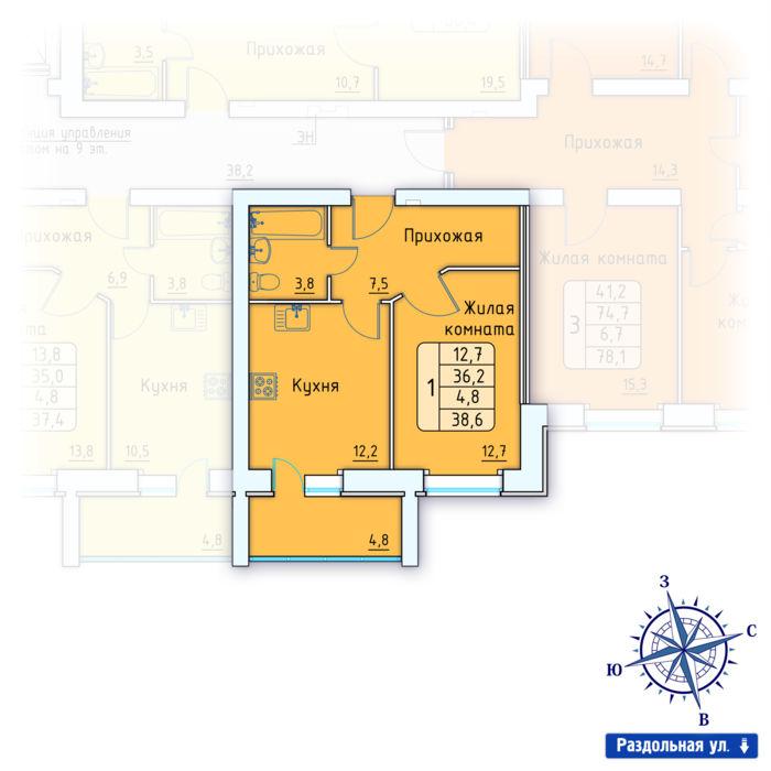 Планировка квартиры (помещения) 107                                                         , Позиция 3.