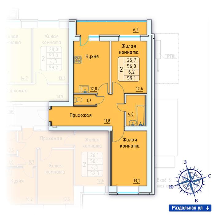 Планировка квартиры (помещения) 2                                                         , Позиция 3.