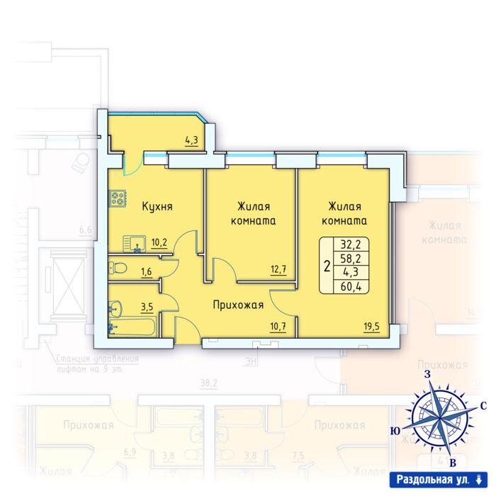 Планировка квартиры (помещения) 89                                                         , Позиция 3.
