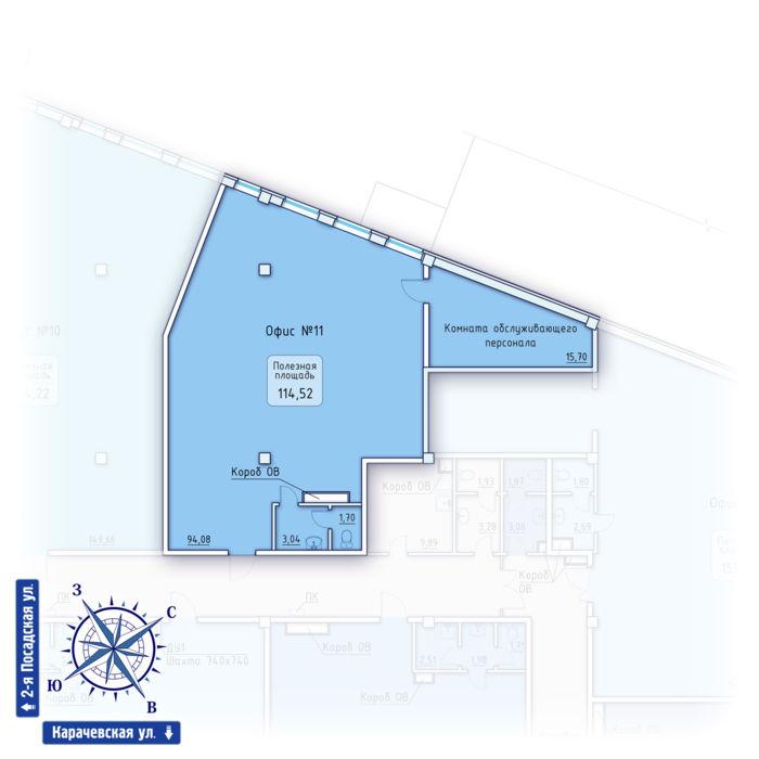 Планировка квартиры (помещения) 11                                                         , ЖК «Зенит» Коммерческие помещения