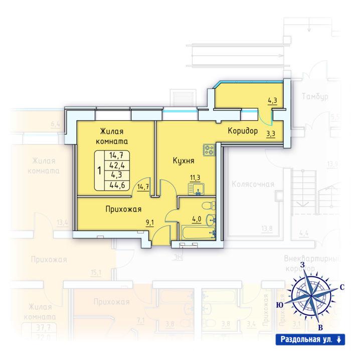 Планировка квартиры (помещения) 9                                                         , Позиция 3.