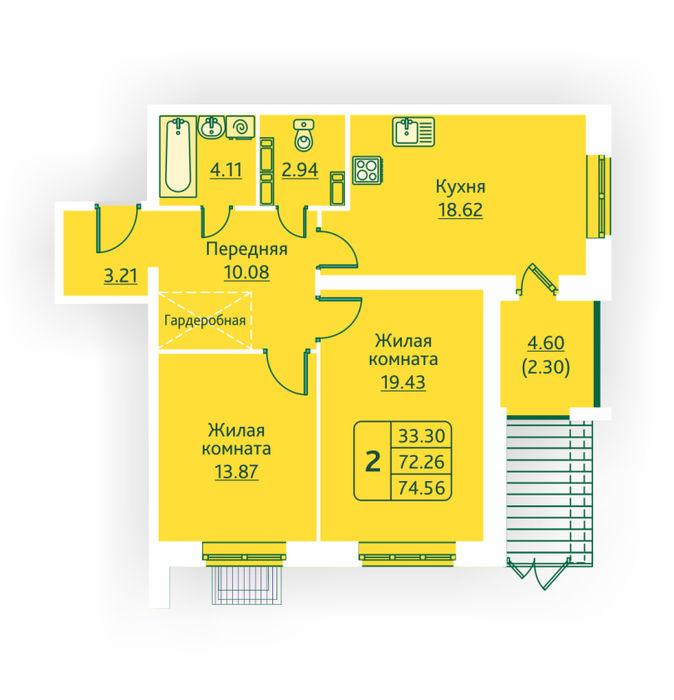 Планировка квартиры (помещения) 3                                                         , ЖК «Овсянниковская Поляна»