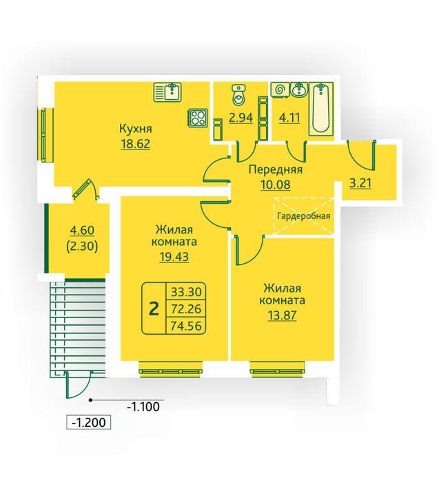 Планировка квартиры (помещения) 154                                                         , ЖК «Овсянниковская Поляна»