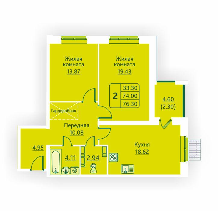 Планировка квартиры (помещения) 2                                                         , ЖК «Овсянниковская Поляна»