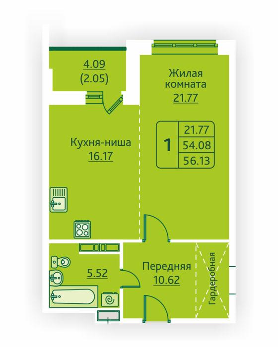 Планировка квартиры (помещения) 157                                                         , ЖК «Овсянниковская Поляна»