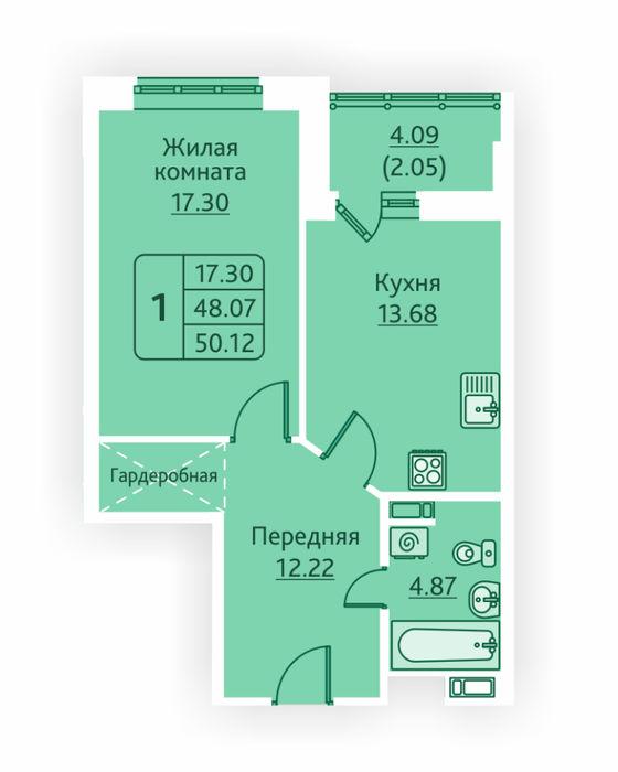 Планировка квартиры (помещения) 300                                                         , ЖК «Овсянниковская Поляна»