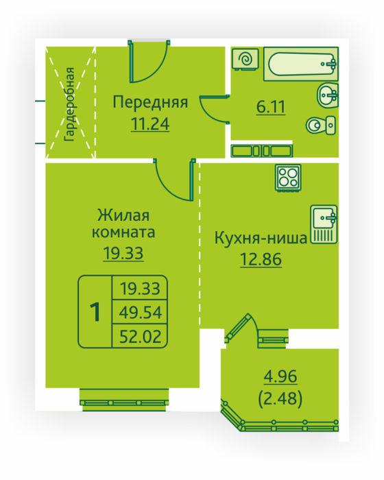 Планировка квартиры (помещения) 131                                                         , ЖК «Овсянниковская Поляна»