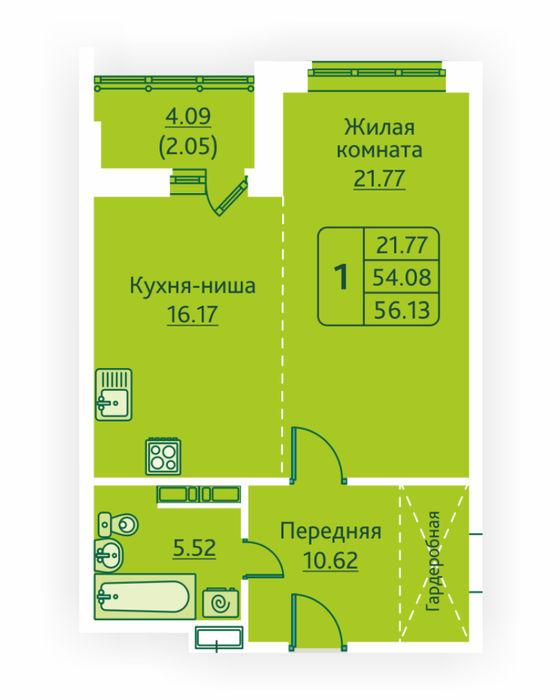 Планировка квартиры (помещения) 285                                                         , ЖК «Овсянниковская Поляна»