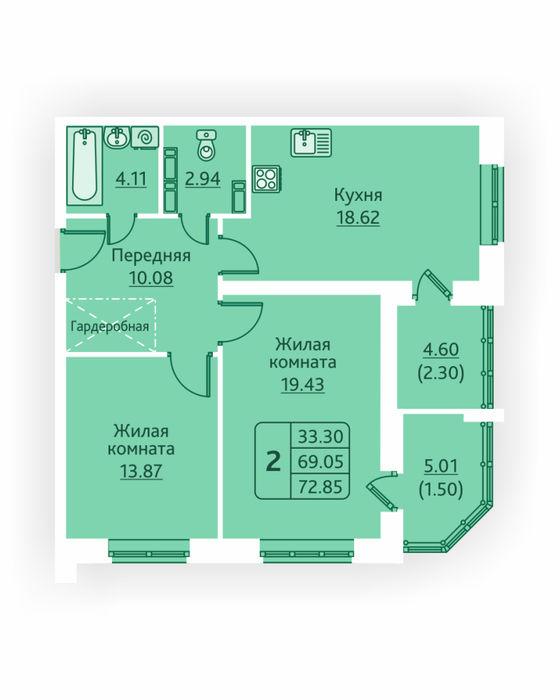 Планировка квартиры (помещения) 145                                                         , ЖК «Овсянниковская Поляна»
