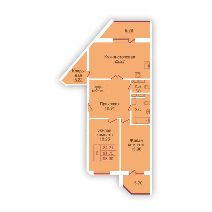Планировка квартиры (помещения) 9                                                         , ЖК «Панорама»
