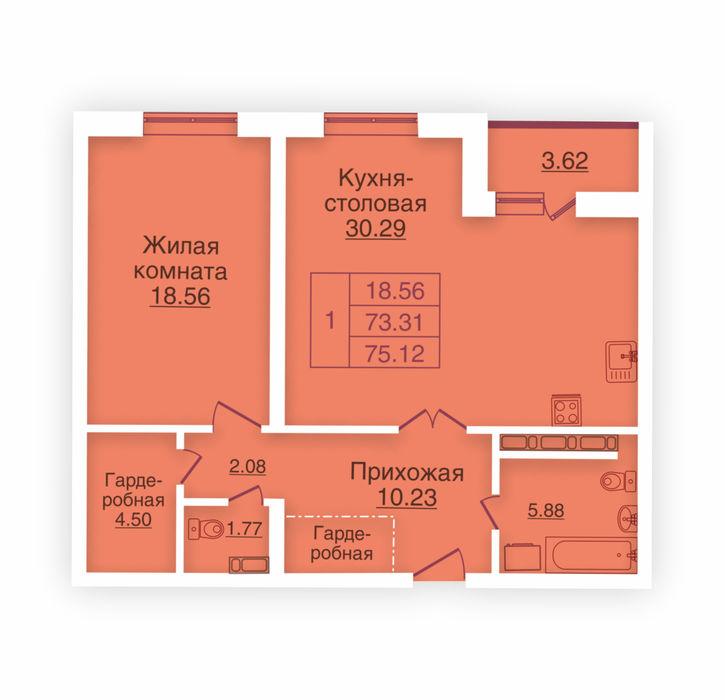 Планировка квартиры (помещения) 121                                                         , ЖК «Панорама»