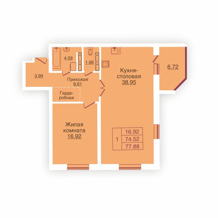 Планировка квартиры (помещения) 124                                                         , ЖК «Панорама»