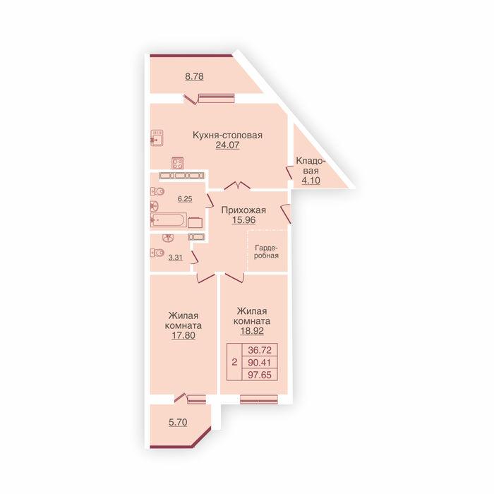 Планировка квартиры (помещения) 120                                                         , ЖК «Панорама»