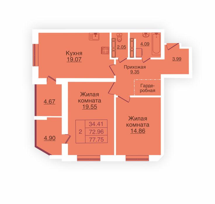 Планировка квартиры (помещения) 12                                                         , ЖК «Панорама»