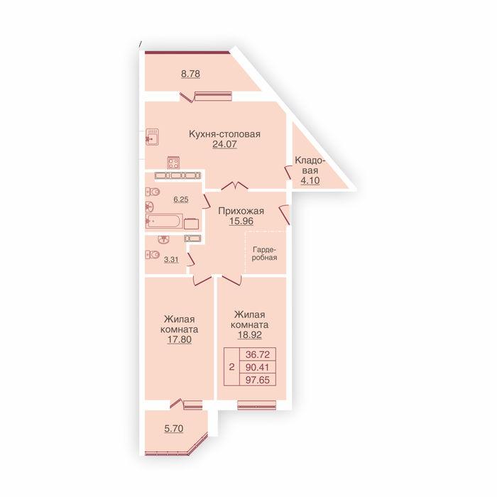 Планировка квартиры (помещения) 127                                                         , ЖК «Панорама»
