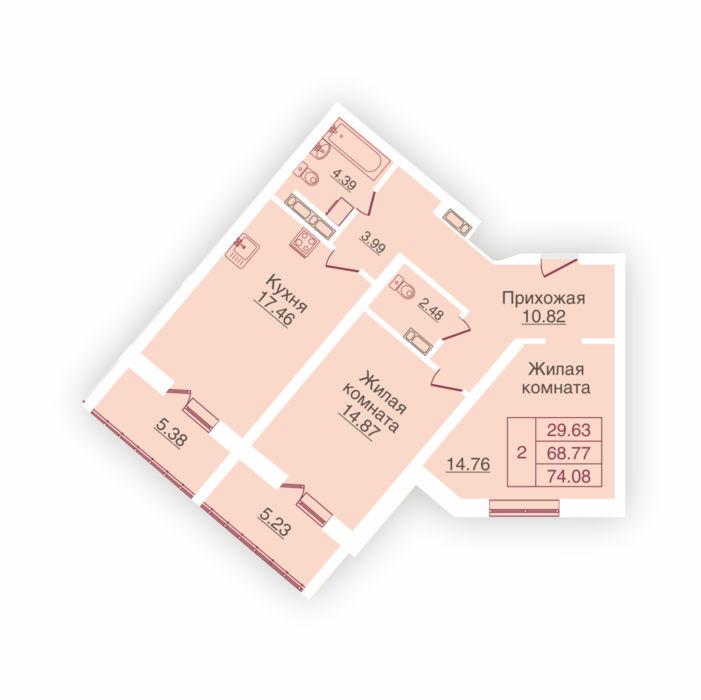 Планировка квартиры (помещения) 24                                                         , ЖК «Панорама»