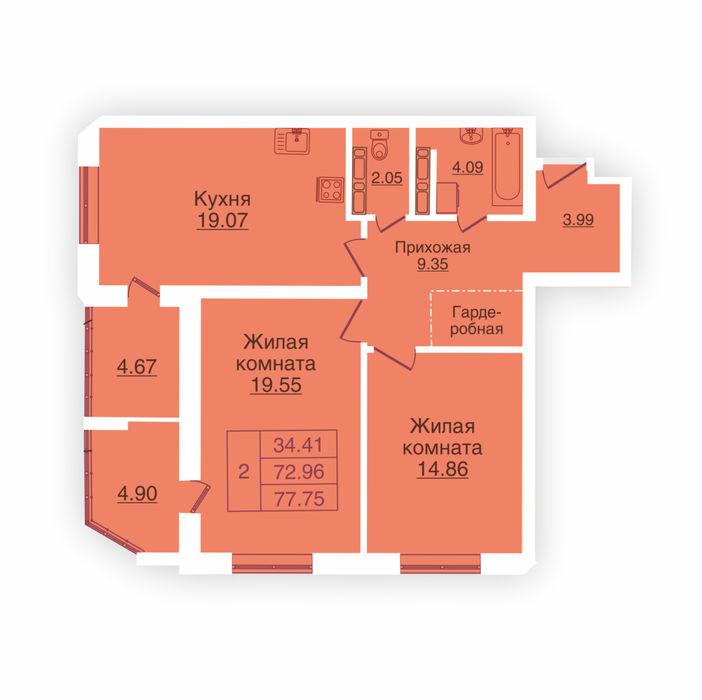 Планировка квартиры (помещения) 19                                                         , ЖК «Панорама»
