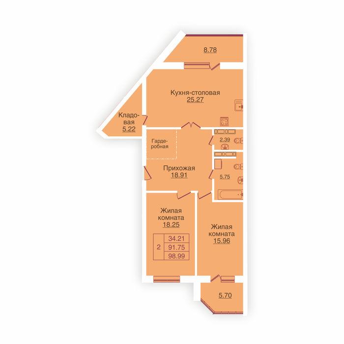Планировка квартиры (помещения) 23                                                         , ЖК «Панорама»