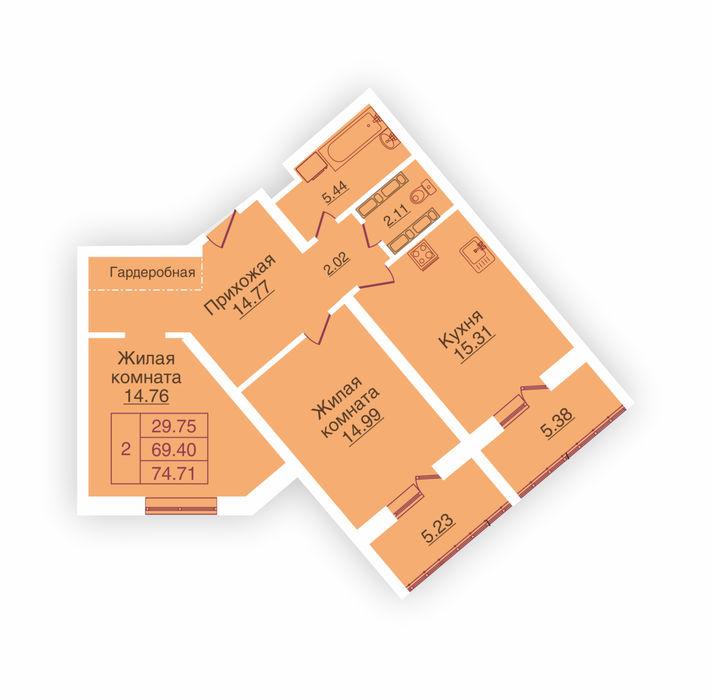 Планировка квартиры (помещения) 161                                                         , ЖК «Панорама»