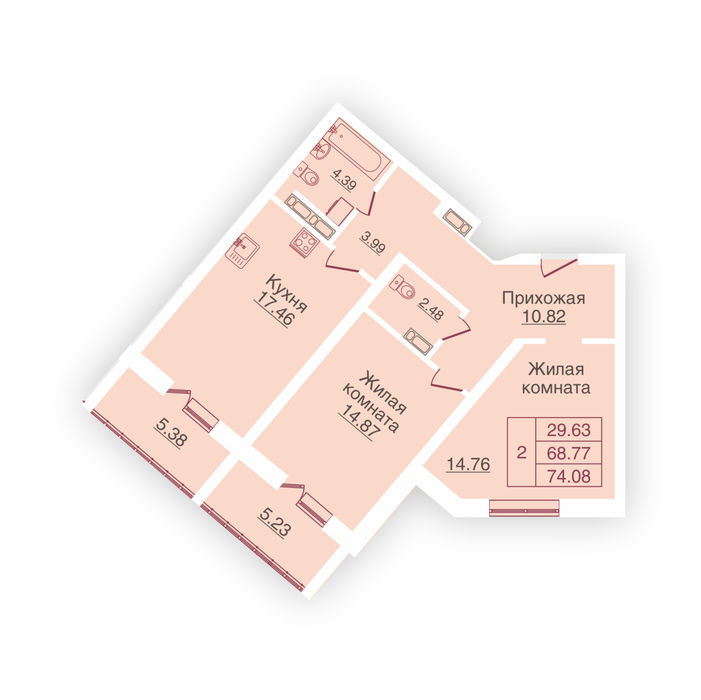 Планировка квартиры (помещения) 66                                                         , ЖК «Панорама»
