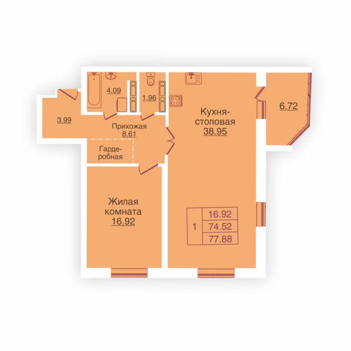 Планировка квартиры (помещения) 194                                                         , ЖК «Панорама»