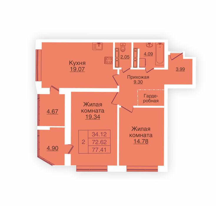 Планировка квартиры (помещения) 96                                                         , ЖК «Панорама»