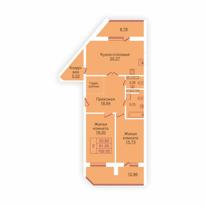 Планировка квартиры (помещения) 114                                                         , ЖК «Панорама»