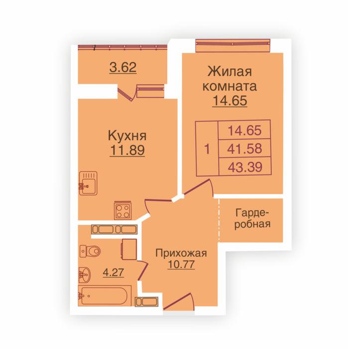 Планировка квартиры (помещения) 220                                                         , ЖК «Панорама»