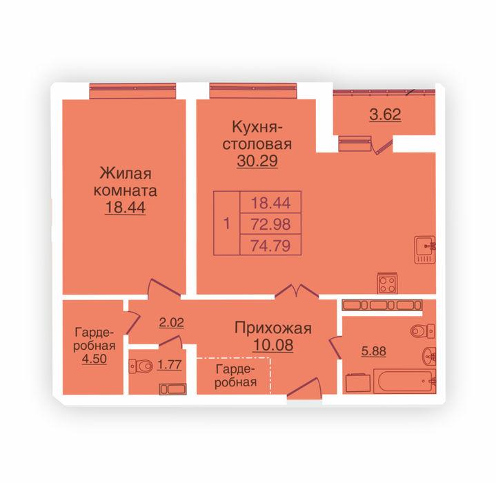 Планировка квартиры (помещения) 212                                                         , ЖК «Панорама»