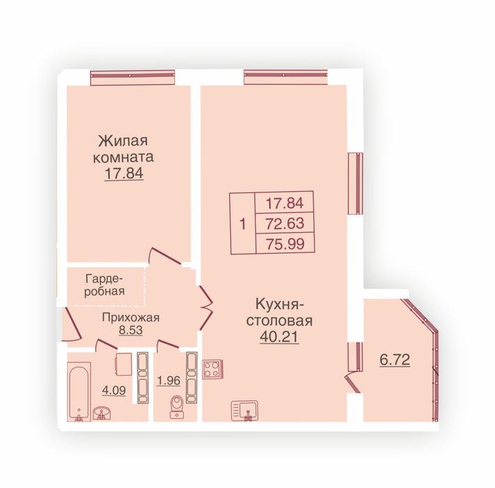 Планировка квартиры (помещения) 214                                                         , ЖК «Панорама»