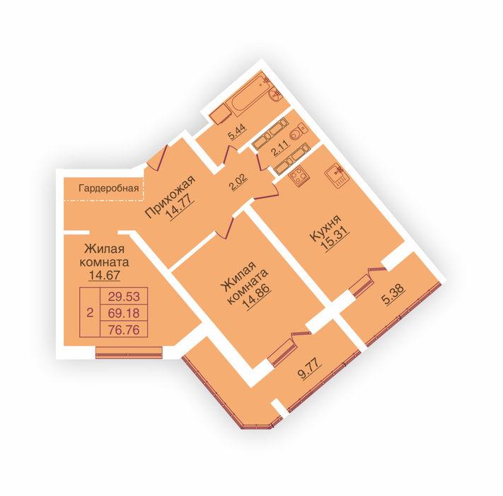 Планировка квартиры (помещения) 210                                                         , ЖК «Панорама»