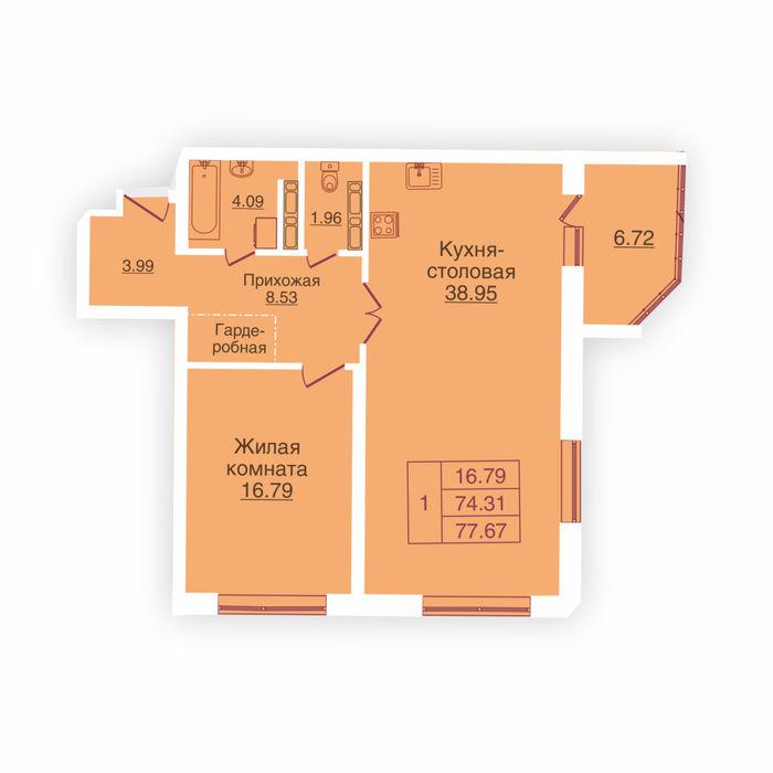 Планировка квартиры (помещения) 215                                                         , ЖК «Панорама»