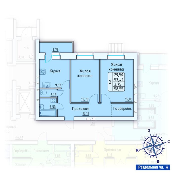 Планировка квартиры (помещения) 1                                                         , ЖК «Лесной квартал» I очередь, позиция 1