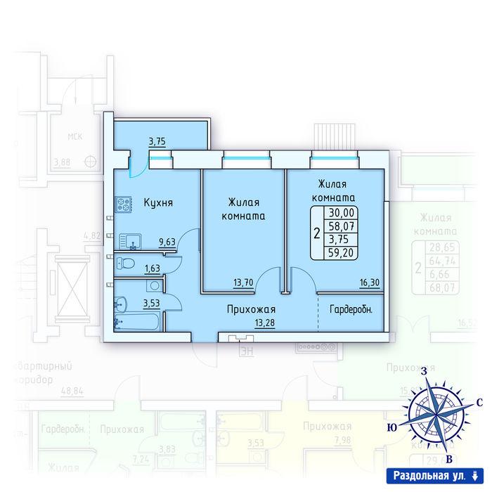 Планировка квартиры (помещения) 65                                                         , ЖК «Лесной квартал» I очередь, позиция 1