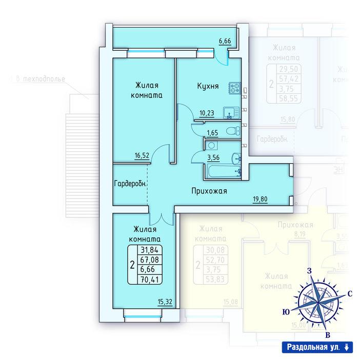 Планировка квартиры (помещения) 134                                                         , ЖК «Лесной квартал» I очередь, позиция 1