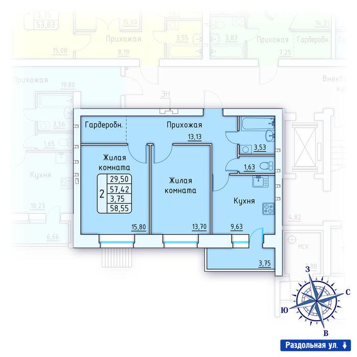 Планировка квартиры (помещения) 1                                                         , ЖК «Лесной квартал» I очередь, позиция 2