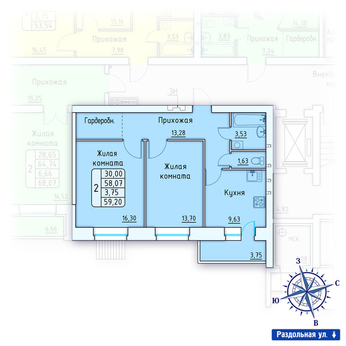 Планировка квартиры (помещения) 65                                                         , ЖК «Лесной квартал» I очередь, позиция 2