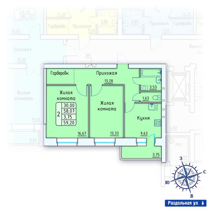 Планировка квартиры (помещения) 128                                                         , ЖК «Лесной квартал» I очередь, позиция 2
