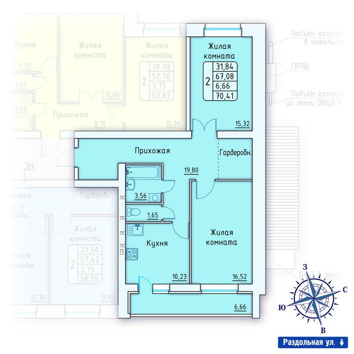 Планировка квартиры (помещения) 134                                                         , ЖК «Лесной квартал» I очередь, позиция 2