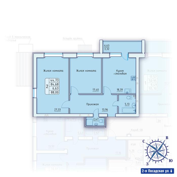 Планировка квартиры (помещения) 2                                                         , ЖК «Зенит»