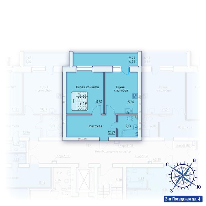Планировка квартиры (помещения) 3                                                         , ЖК «Зенит»