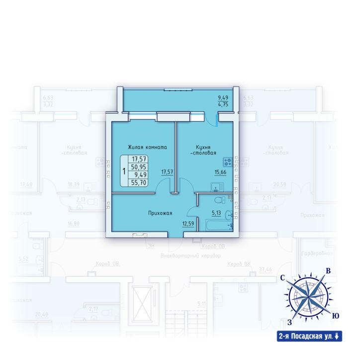 Планировка квартиры (помещения) 9                                                         , ЖК «Зенит»