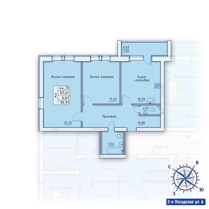 Планировка квартиры (помещения) 13                                                         , ЖК «Зенит»