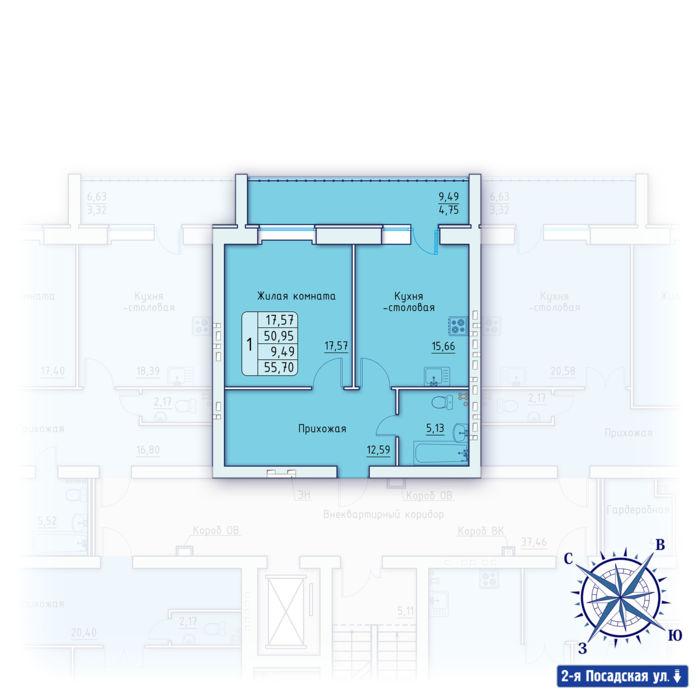 Планировка квартиры (помещения) 14                                                         , ЖК «Зенит»