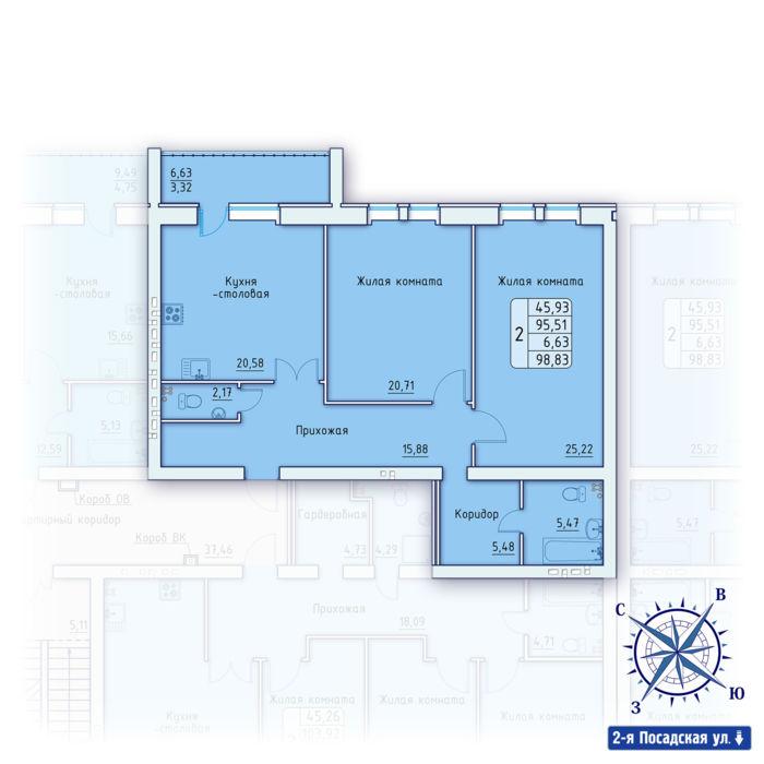 Планировка квартиры (помещения) 20                                                         , ЖК «Зенит»